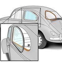 "1950-1977 VW Beetle Pop-Out Quarter Window Pinch Welt 136"" Long Black 302414"