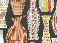 Sanderson Curtain Fabric HAYWARD 1.25m Red/Black 1950s Design - Linen Mix 125cm