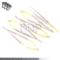 New 5 Castroviejo Micro Scissor Needle Holder Str+ Cvd Forceps Dental Eye EY-008