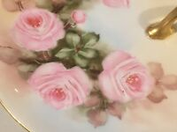 Early 1900s M&Z Austria PINK ROSES Hand Painted Plate Gold Gilded