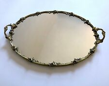 """New listing Vintage large 16"""" gold mirror vanity tray with handles and flowers home decor"""