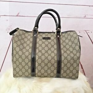 GUCCI Joy Boston Handle Bag Monogram GG Canvas In Dark Brown Medium