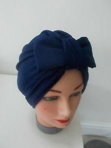 TURBAN  NAVY BLUE BOW  VINTAGE LOOK 1940s 50s SWING HAT HEAD SCARF HAIR PIN UP