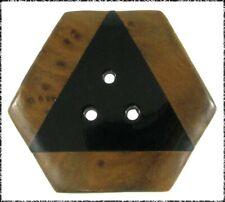 New listing Large Offbeat 3-Hole Plastic Button, Wood Laminated Border, Geometric Shape