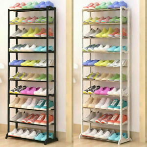 10 TIERS 30 PAIRS SHOE RACK SHOES SHELVES ORGANISER STAND STORAGE EASY ASSEMBLE