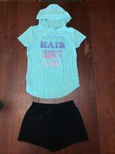 "So Aqua ""Mermaid Hair.� Shirt Sz 12 & Black Children's Place Shorts Sz 10/12"