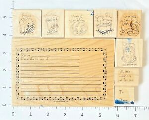 Stampin' Up! What's for Dinner Set 9 Rubber Stamps Recipe Card Maker Foods 2004