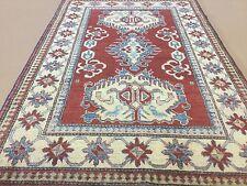 Red Beige Kazak Geometric Persian Oriental Area Rug Wool Hand Knotted Tribal