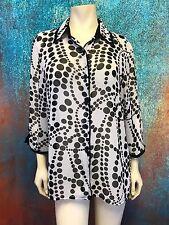 Graff Women's Blouse Sheer Flowy Button Down Geometric Dots Size L