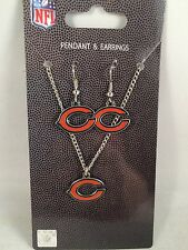 NEW! NFL Chicago Bears Necklace and Earring Gift Set Women's Football Jewelry