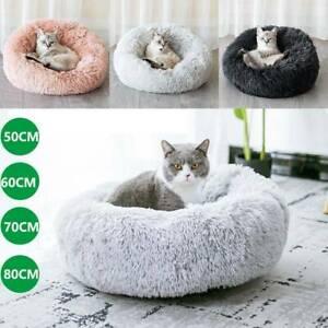 Pet Dog Cat Calming Beds Comfy Shag Warm Fluffy Bed Nest Mattress Fur Donut Pad