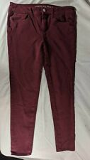 EUC American Eagle Womens Maroon Jeans Jegging 360 Super Stretch Sz 10 Sateen X4