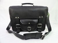 "Men's Black Leather Briefcase 15"" Laptop Satchel MacBook Attache Messenger Bag"