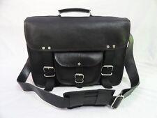 """Men's Black Leather Briefcase 15"""" Laptop Satchel Messenger Shoulder School Bag"""
