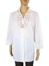 Bonita Damen Vtg Retro Sticken Hippie weiß klassisches Longshirt Plus SZ 16 AP42