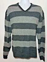 NEW Alan Flusser Gray Striped Wool V-Neck Men's Sweater Size 2XL FREE SHIP IN US