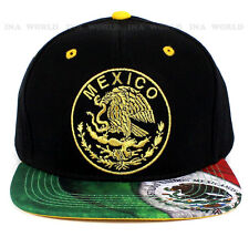 Mexican Flag hat Mexico Gold Embroidered Snapback Baseball cap Flat Hiphop bill