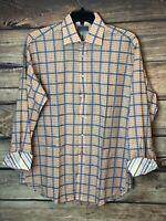 Men's Thomas Dean Plaid Long Sleeve Button Down Dress Shirt Flip Cuffs Sz XL EUC