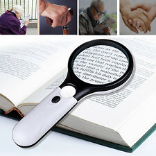 3 LED 45X Light Handheld Magnifier Magnifying Reading Glass Lens Jewelry Loupe W