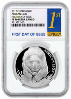 2017 Republic of Chad African Lion - 1 oz Silver 5000F NGC PF70 UC FDI SKU43973