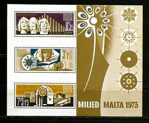 1973 Malta miniature sheet depicting Christmas stamps in unmounted mint