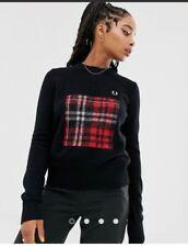 fred perry Women's sweatshirt check tartan knitwear jumper size 12/40 new rrp130