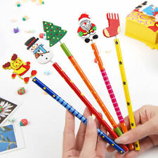 12pcs Cute Santa Snowman Tree Bell Wooden Pencils Christmas Gifts For Kids Hot