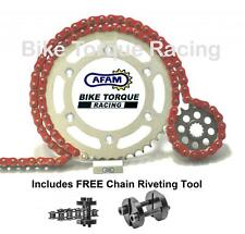 Harley 883 Sportster 5 sp 91-03 AFAM Red Chain & Sprocket Kit + Rivet Tool