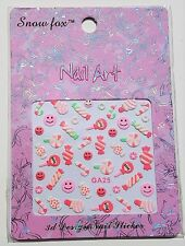 Girls Nail Art Stickers Cute Pink Candy Canes Lollipop Design