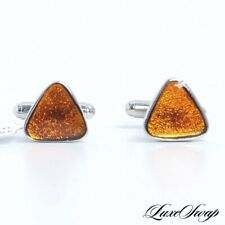NWT Anonymous Made Italy Silver Metal Copper Sparkle Effect Pyramid Cufflinks #2