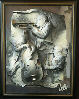 Tableau bas relief plâtre Art Nouveau Band Jazz Signée Lally 2,1kg sculpture pop