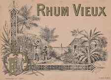"""""""RHUM VIEUX / PLOUVIEZ & Cie Paris"""" Etiquette-chromo originale début 1900"""