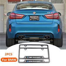 2X BMW MOTORSPORT Metal Black Car License plate frames for BMW 1 2 3 4 5 X5 X6