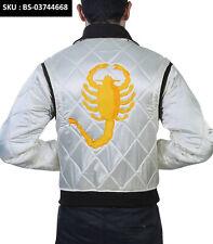 Scorpion Drive Trucker/ Rider IVORY Satin Jacket - Same Style of Ryan Gosling