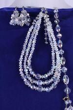 VTG Aurora Borealis Crystal Bead 3 Strand Necklace Bracelet Clip Earring Set AB