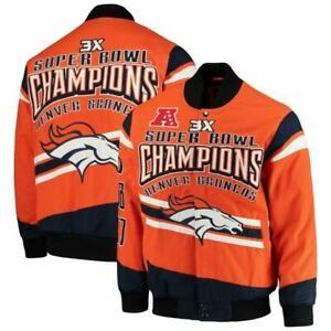 NEW Denver Broncos 3X Super Bowl Champions G-III Cotton Twill Jacket Size 5XL