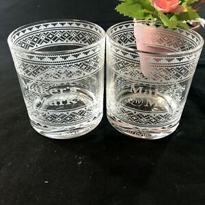 Makers Mark Clear Whiskey Glasses Etched Winter Design Set of 2