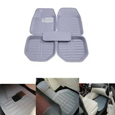 Car Floor Mat Liner PU Leather Auto Floor Carpet Waterproof All Weather Gray