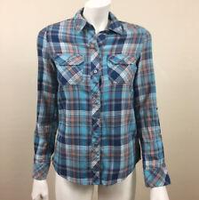 Womens Seven 7 XS Flannel Shirt Button Front Turquoise Blue Pockets Cotton