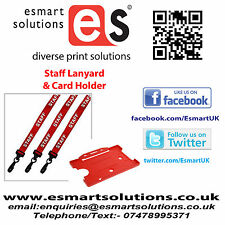 10 x STAFF Neck Lanyards and Card Holders, RED, (FREE P&P)