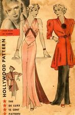 Vintage 30's HOLLYWOOD EVENING WEDDING DRESS GOWN & COAT JACKET Sewing pattern