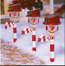 SNOWMAN CHRISTMAS HOLIDAY SOLAR PATH LIGHT STAKE Frosty Holly Yard Lawn Decor