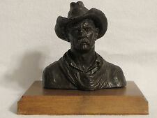 1969 Michael Garmin Cowboy Bust Sculpture with Rare Wood Base Colorado