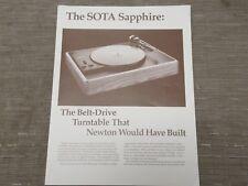 SOTA Sapphire turntable original Specs original Catalogue
