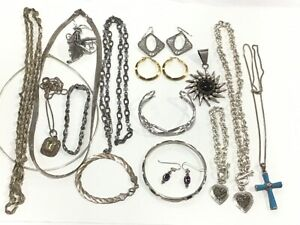 Lot of Sterling Silver Jewelry Some Stones 285 Grams Total Weight 17 Items
