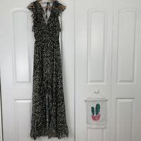 L'Agence Sophie Print Flutter Silk Maxi Dress Women's Size 4 NWT $795