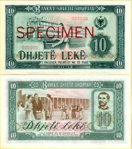 Albania Specimen Paper Money Banknote 10 Lek 1976 UNC. Serial number 00000. RARE