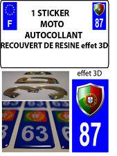 1 sticker plaque immatriculation MOTO TUNING 3D RESINE  BLASON PORTUGAL DEPA 87