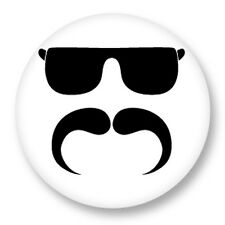 Pin Button Badge Ø38mm Smiley Mustach Moustache Vintage Hipster Style
