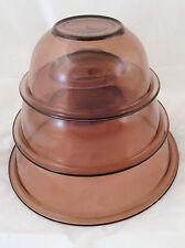 3 Purple Amethyst Cranberry Pyrex Vintage Mixing Nesting Bowls 1, 1.5 & 2.5 L